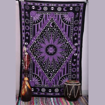 Sun and moon polyester indian mandala french tapestry large  bohemian decor tapestry 3d blankets