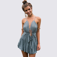 Gray Spaghetti Strap Backless Drawstring Romper