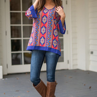 Tribal Sensation Top, Blue/Red