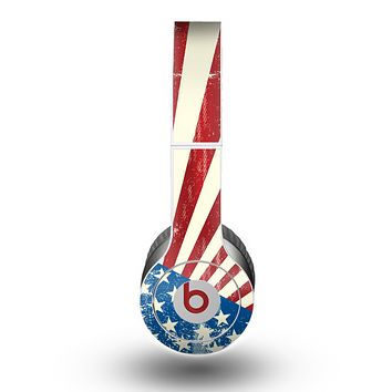 The Vintage Tan American Flag Skin for the Beats by Dre Original Solo-Solo HD Headphones