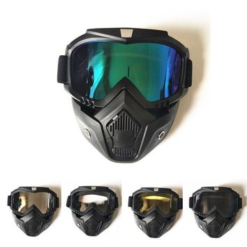Winter sport ski goggle Face mask Removable Dust respiration filtration riding Skiing motocross snowboard goggles snow glasses