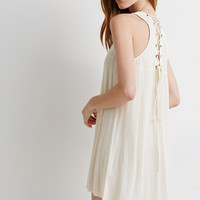 Lace-Up Crepe Tunic