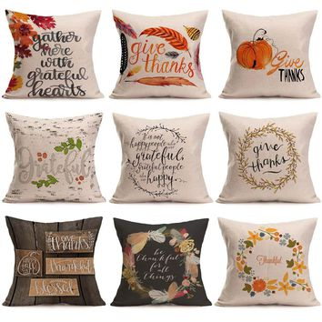 Happy Fall Thanksgiving Day Decoration Cushion Living Room Vintage Home Decor Throw Pillows Kussens Woondecoratie #820