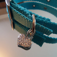Cute DOG Collar/ CAT Collar with Heart CHARM Combination -   Rhinestone Heart with Austrian Crystals