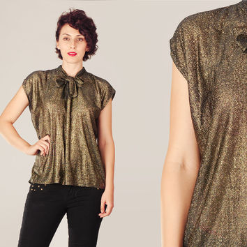 70s Gold Lurex Boxy Fit Top / Shimmery Metalic Tie Neck Blouse / Shinny Gold Metal Party Evening Christmas Free Size Top