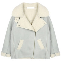 Faux Shearling Lining Zip Coat