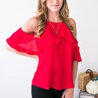 Everyday Occasion Cold Shoulder Red Top