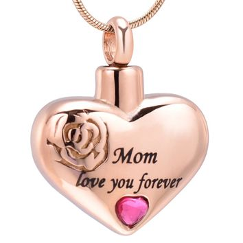 IJD10034 Stainless Steel Mom Love You Forever Heart Cremation Pendant Keepsake Necklace Ashe Holder Urn Funeral Memorial Jewelry