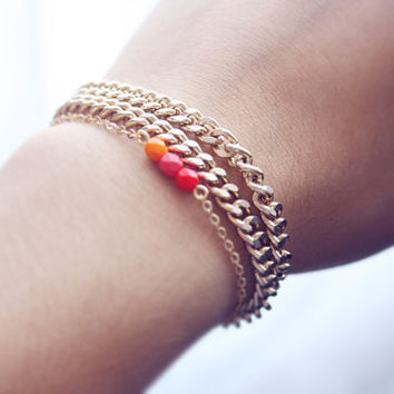 pumpkin spice ombré - dainty, minimalist, beaded bar bracelet - fall jewelry