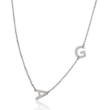 Sideways Two Letter  Initial Necklace  -  .925 Sterling Silver
