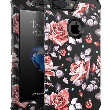 "OBBCase 7plus case rose IPhone 7 Plus Case, Three Layer Hybrid Sturdy Armor High Impact Resistant Protective Cover, 5"" L, Rose Flower/Black"