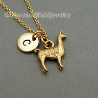 Llama charm Necklace lama glama Antique par ShortandBaldJewelry