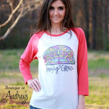 Luckybird Clothing Amazing Grace Shirt with Stained Glass Window Art