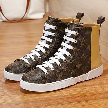 """Hot Sale """"Louis Vuitton"""" LV New Popular Women Personality Print High Top Flat Shoes Sneakers Golden I-ALS-XZ"""