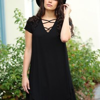 Black PIKO Short Sleeve Strappy Asymmetrical Dress