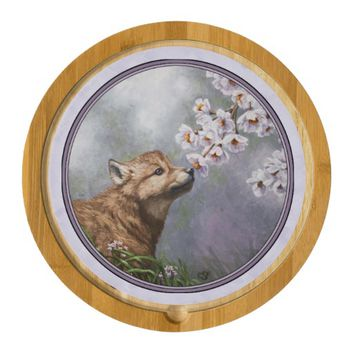 Wolf Pup and Flowers Round Cheeseboard