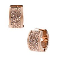 Michael Kors Rose Gold Pave Huggie Earrings