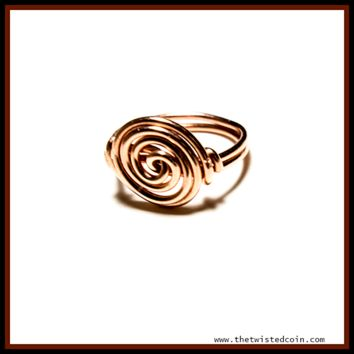 Copper Spiral Ring - 16 gauge -Size 6.5