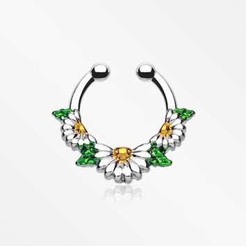 Daisy Garden Icon Fake Septum Clip-On Ring