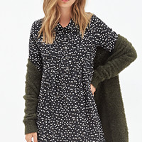FOREVER 21 Ditsy Floral Shirtdress Black/Cream