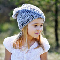 Crochet Slouchy Hat for Girls - Toddler Slouchy Beanie, Pom Pom Hat, Toddler and Child Size