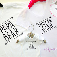 Papa Bear, Mama Bear, Lil Cub family photo prop shirts men women funny toddler Onesuit cute reunion portrait girls boys baby