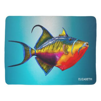 Psychedelic Colorful Triggerfish Fish Drawing Baby Blanket