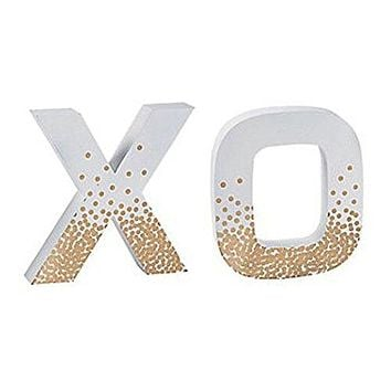 """X"" and ""O"" Metallic Gold and White Decorative Letters"