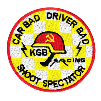 Awesome Large Funny KGB Racing Team 8cm Patch Badge for Shirt Hat Cap Jacket Applique