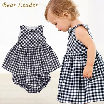 Bear Leader Baby Girls Dress 2018 New Casual Plaid Sleeveless