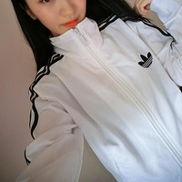 Adidas Fashion Gym Sport Long Sleeve Casual Cardigan Jacket Coat Windbreaker