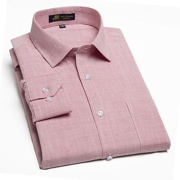 New Arrival Comfortable Fabric Breathable Long Sleeve Silk Cotton Men Casual Shirt Solid Color Popular Business Men Dress Shirts