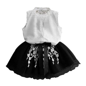 Summer Toddler Baby Girl Kids Tutu Crochet Lace Shirt Princess Dress Clothes Set girls clothes sets Drop ship