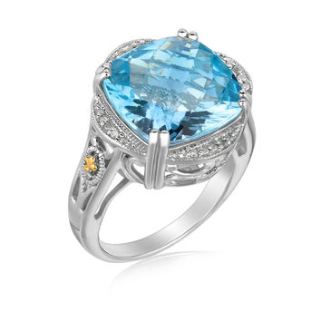 18K Yellow Gold and Sterling Silver Blue Topaz and Diamond Fleur De Lis Ring: Size 7