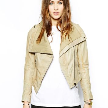 Doma Cropped Leather Biker Jacket
