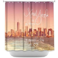 Shower Curtain Artistic Designer from DiaNoche Designs by Monika Strigel Stylish, Decorative, Unique, Cool, Fun, Funky Bathroom - New York Skyline