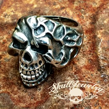 'Bad to the Bone' Stainless Steel Laughing Skull Ring with Moveable Jaw (145)