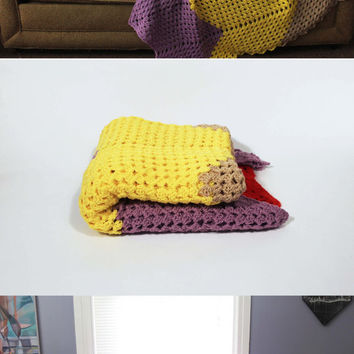 Chevron Afghan - Crochet Blanket Purple, Yellow, Tan, and Red Zig Zag Comforter Large