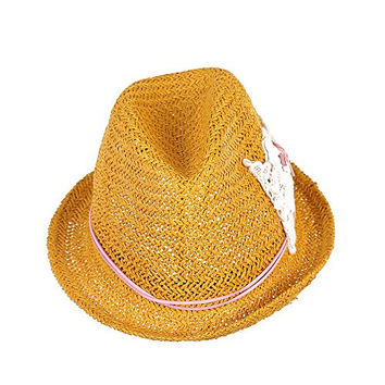 Generic Women Floppy Foldable Hollow Straw Roll Brim Crochet Bowknot Sun Hats