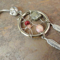 Dream Catcher Belly Button Ring, Pyrite, Dark Red, Rose Pink