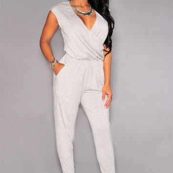 Sleeveless V-Neck Wrapped Top Jumpsuit