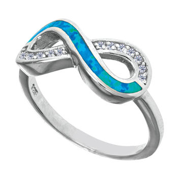 Sterling Silver With Rhodium Finish Infinity Design With Cz And Created Opal Ring