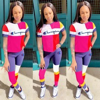 Champion Summer New Fashion Embroidery Letter Contrast Color Sports Leisure Top And Pants Two Piece Suit