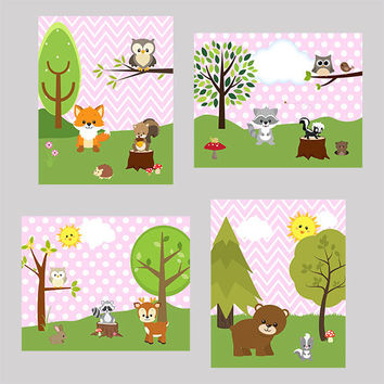 Nursery Art Prints Decor, Woodland Animals, Light Pink Background CUSTOMIZE YOUR COLORS, 8x10 Prints, set of 4, baby room kids room playroom