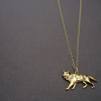 gold sly coyote necklace 14kt gold filled chain