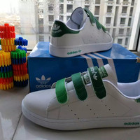 """Adidas STAN SMITH"" Fashion Casual Unisex Plate Shoes Sneakers Couple Velcro Small White Shoes"