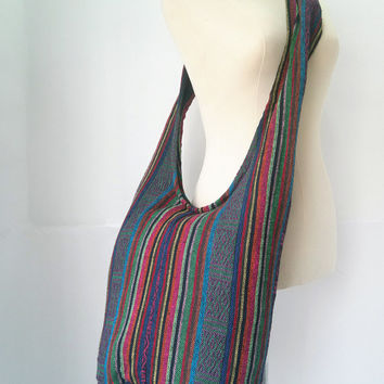 Nepali Cotton Crossbody Shoulder Bag Sling Hippie Hobo Boho Yam Diaper Purse Tote Thai bag Nepalese Cross Body Tribal Cross-body Hand Woven