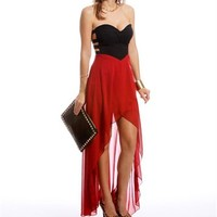 Deep Red Strapless Hi Lo Dress