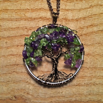 Tree Of Life Necklace Green Peridot Amethyst Pendant Dark Brown Trunk Wire Wrapped Semi Precious Gemstone Jewelry August February Birthstone