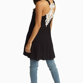 Black Lace Accent Racerback Tunic